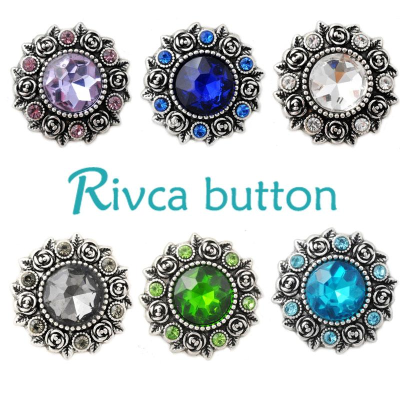 D02808 Newest Crystal styles 20mm Metal Snap Button Fit Snap Bracelet&Bangles Charm Rhinestone Styles Button Rivca Snaps Jewelry NOOSA Chunk