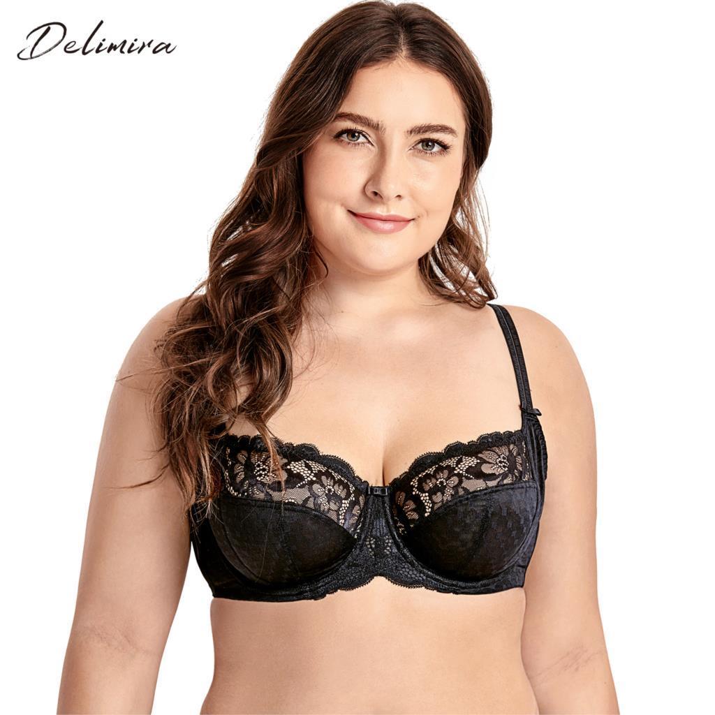 62e5b111465 DELIMIRA Women s Plus Size Lace Full Coverage Underwire Non Padded Support  Bra
