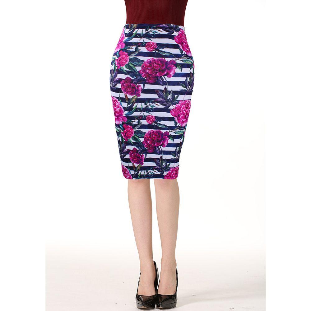 71ab8e07a Moda Occidental Flores Rojas Impresión de Rayas de Las Mujeres Faldas Lápiz  M-xxl Moda Ladies Bodycon Saias Girls Faldas Slim Bottoms C19041601