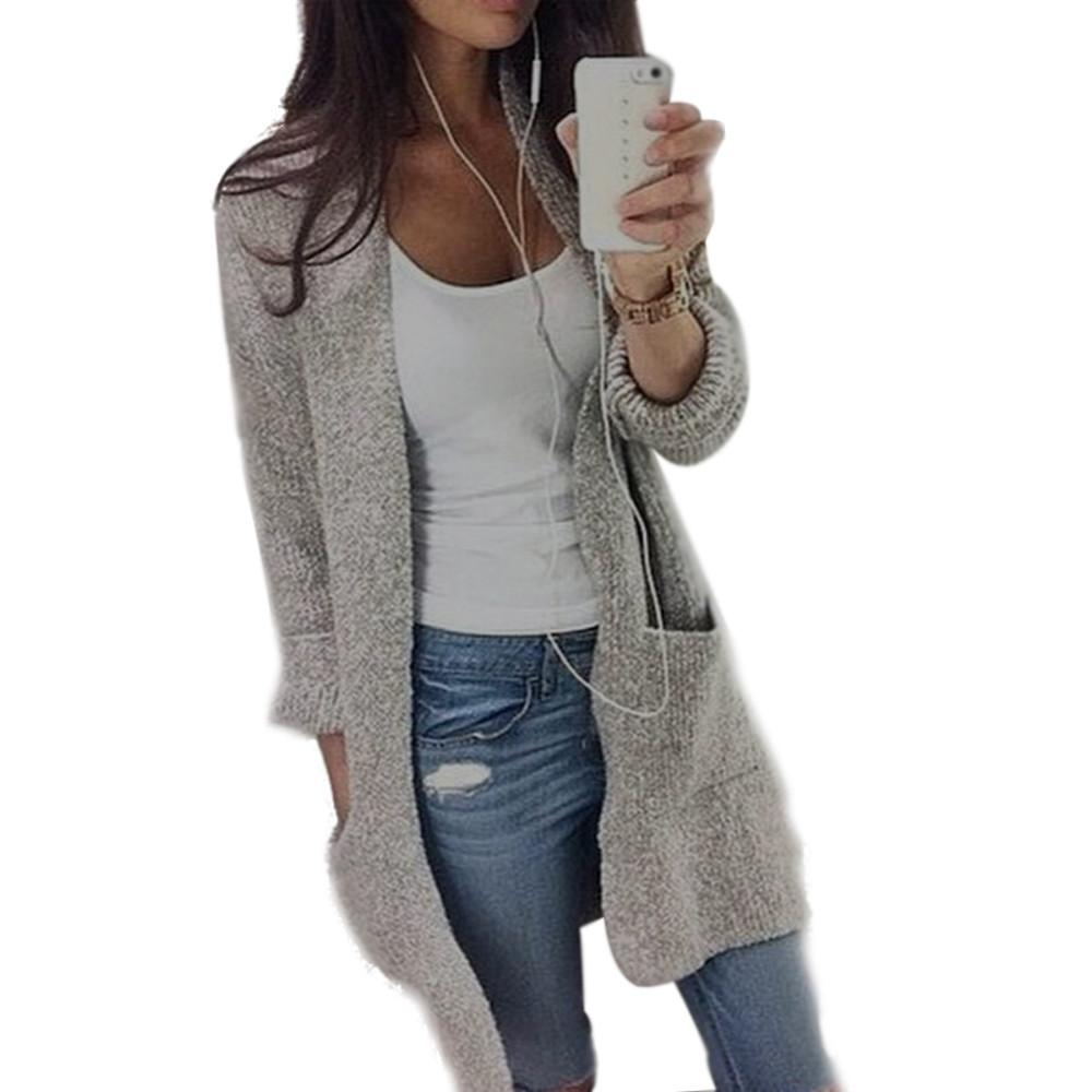 57d1d3691ab90 Women Coat Autumn Winter Knitted Sweaters Long Sleeve Loose Cardigan ...