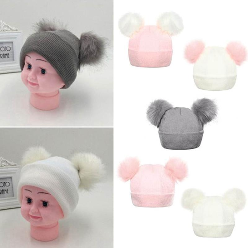 22733f23276 2019 Winter Knitted Baby Hats 2018 Girls Boys Sweet Solid Hat With Two Fur  Pompoms Balls Kids Caps For Baby Girls Warm Soft Hat Cap From Lahong