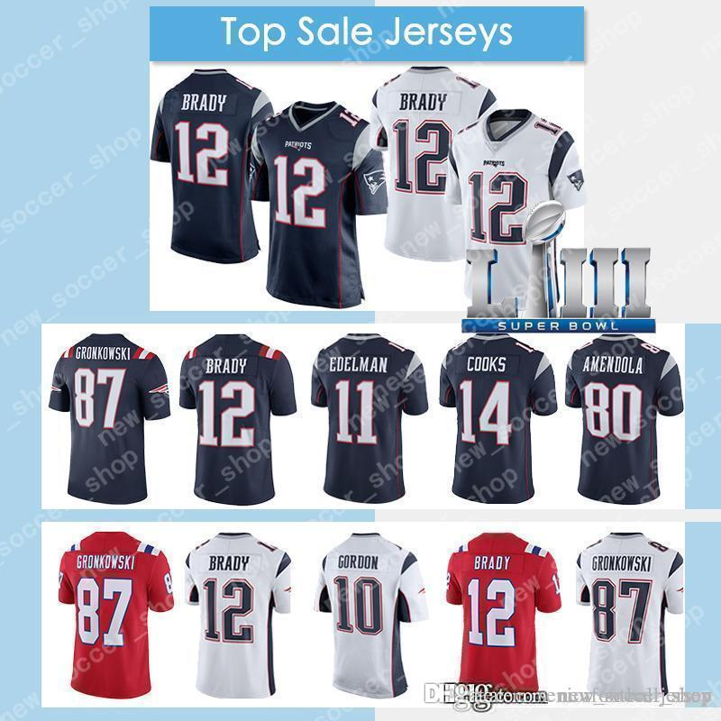 a8fb5a67ea5 2019 12 Tom Brady Jersey 2019 Mens New Patriots 87 Rob Gronkowski 10 Josh  Gordon Super Bowl LIII 11 Julian Edelman 15 Hogan From  Seniorfootballjersey, ...