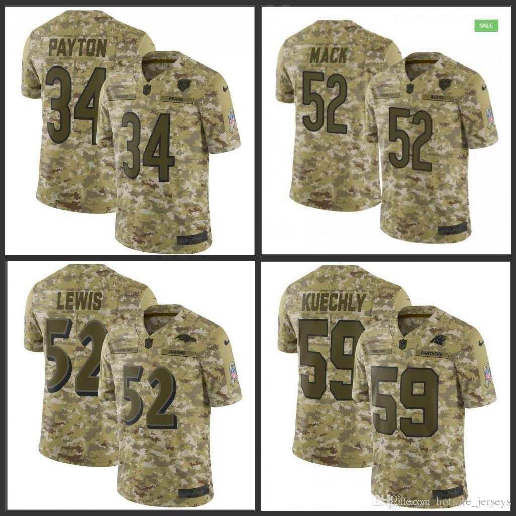 timeless design a6130 9b33a Chicago Mens Bears #52 Khalil Mack 34 Payton Ravens 52 Lewis Panthers 59  Kuechly Camo Salute to Service Retired Player Limited Jersey