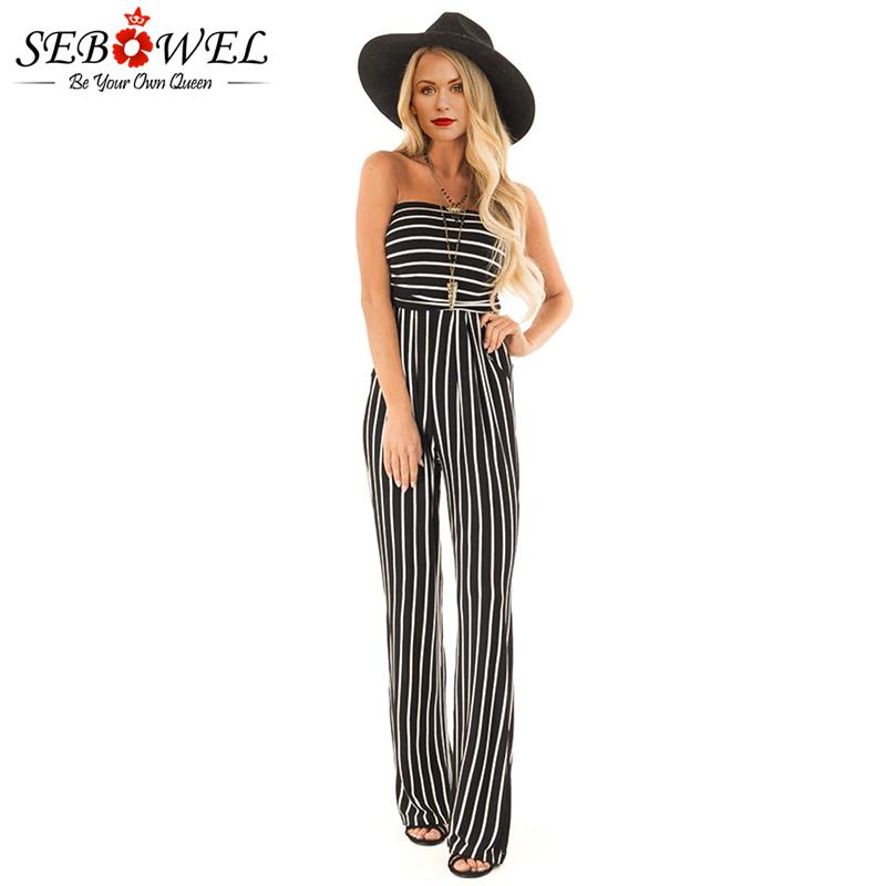 80053e2eefb 2019 Wholesale Black White Striped Sleeveless Jumpsuit 2019 Summer Women Sexy  Strapless Rompers From Chengdaphone02