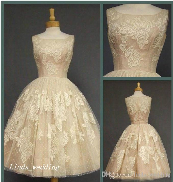 Retro 1950 s Vintage Wedding Dresses High Quality Ball Gown Tulle Lace  Women Wear Bridal Party Gowns