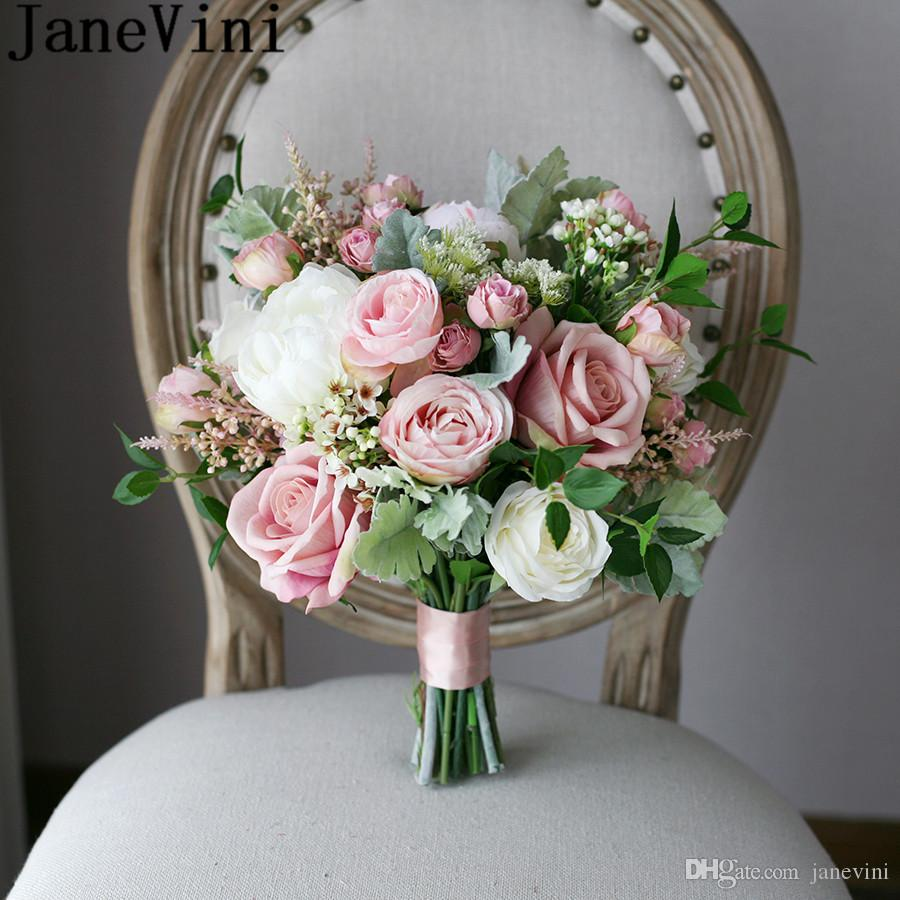 Blush Wedding Flowers: JaneVini Vintage Blush Pink Roses Bridal Handle Bouquets