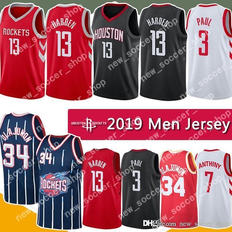on sale 663db 477ed NCAA James 13 Harden Jersey Houston Abdul 34 Olajuwon Rockets Chris 3 Paul  Retro Mesh Carmelo 7 Anthony College Mens Basketball Jerseys