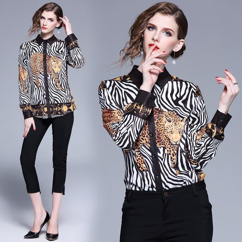 best loved 6332f b3163 Camicie Primavera Trendy del 2019 con Collo Totem Leopardo Stampato e  Camicie a Maniche Lunghe