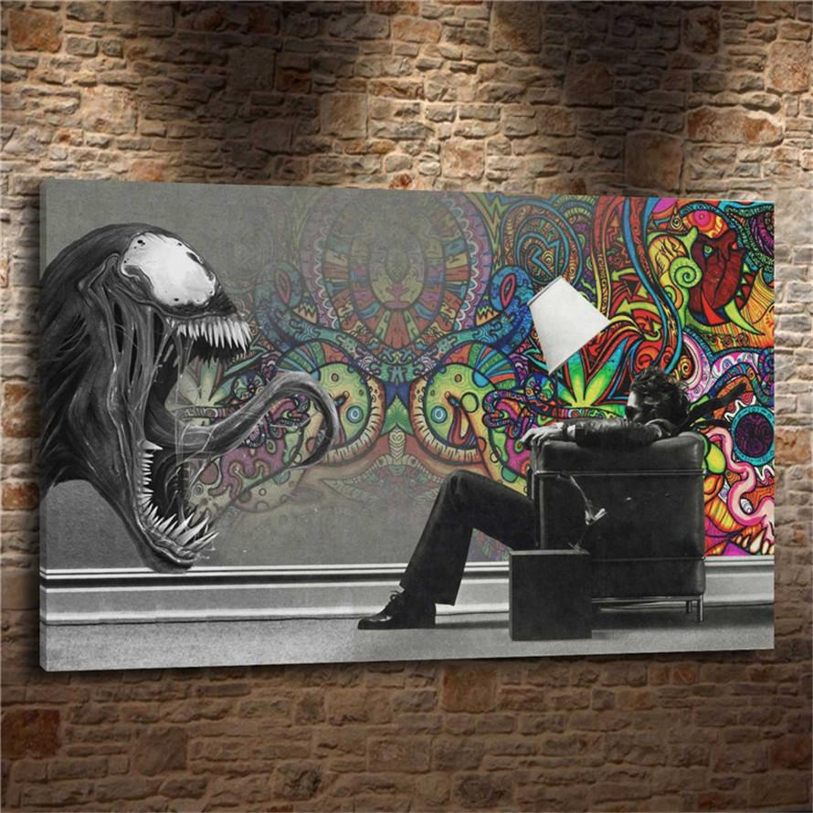 Abstract marvel venom1 pieces canvas prints wall art oil painting home decor unframed framed