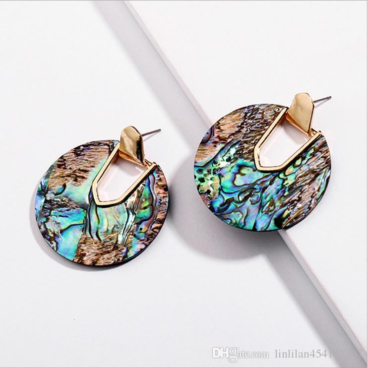 Kendra Style Designer Inspired Abalone Shell Leopard Turquoise Natural Stone Jewelry Aragon Oval Dangle Drop Statement Earrings for Women