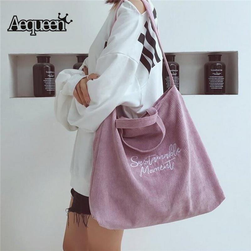 2018 Women Corduroy Canvas Tote Ladies Casual Shoulder Bag Foldable Reusable Shopping Bags Beach Bag Female Cotton Cloth Handbag