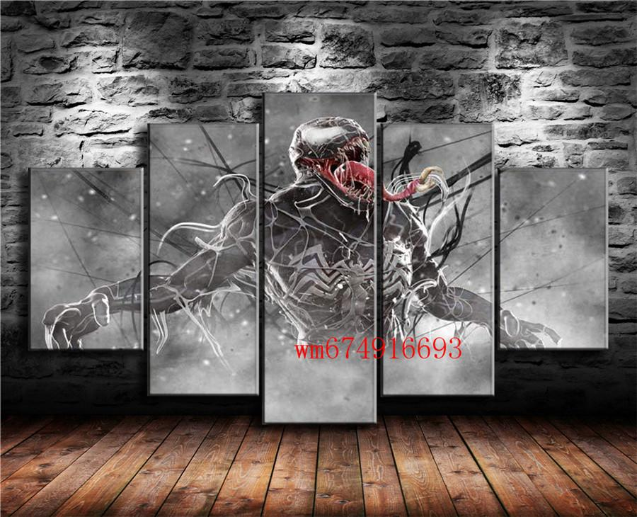 Venom Marvel Comics , 5 Pieces Home Decor HD Printed Modern Art Painting on Canvas (Unframed/Framed)