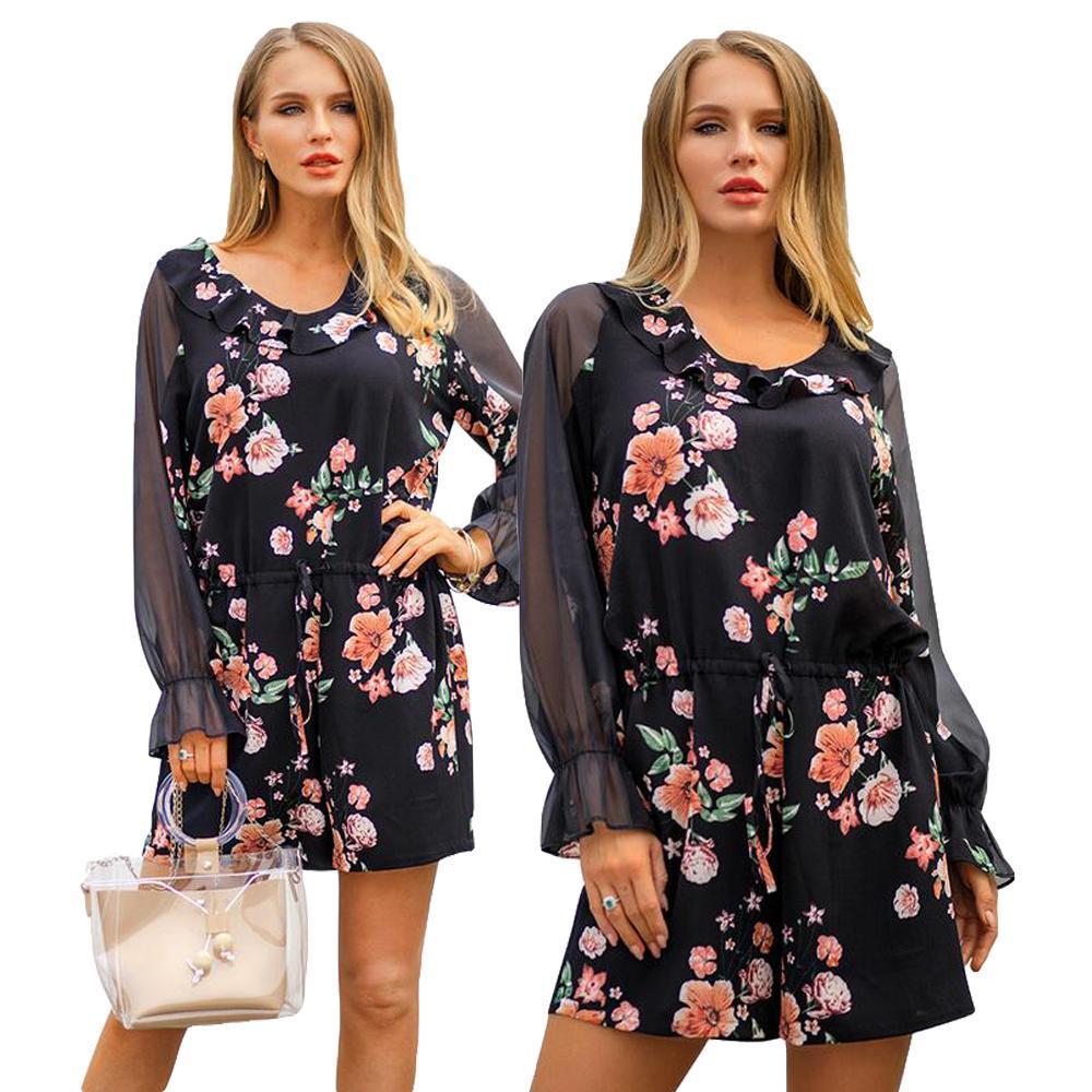 5b7213fd35 2019 2019 Women Flower Print Jumpsuits Casual Playsuits Long Sleeve O Neck  Slim Summer Holiday Beach Wear Drawstring Ruffle Side New From Biusec