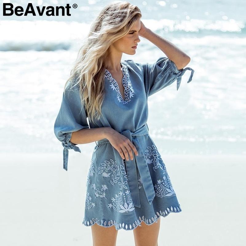 204d4723ff 2019 Beavant V Neck Embrodiery Women Blue Denim Elegant Sash Mini Short  Casual Holiday Beach Summer Dress Female Vestidos C19040402 From  Linmei0006