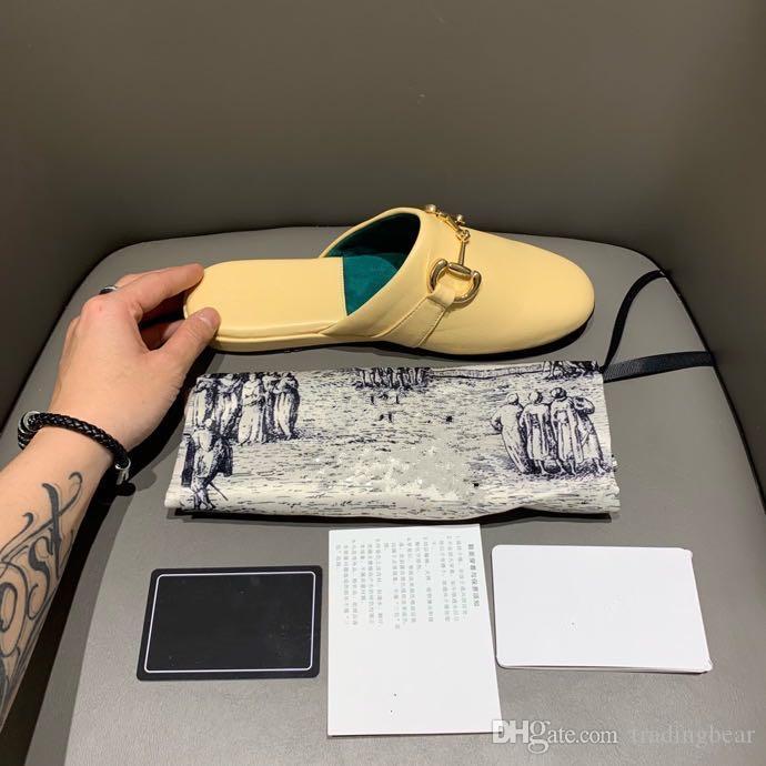 2020 Luxus Frauen Princesstown gelb echtes Leder Mules flache Absätze italienische Mode Luxus-Designer-Schuhgröße 35 bis 40 tradingbear
