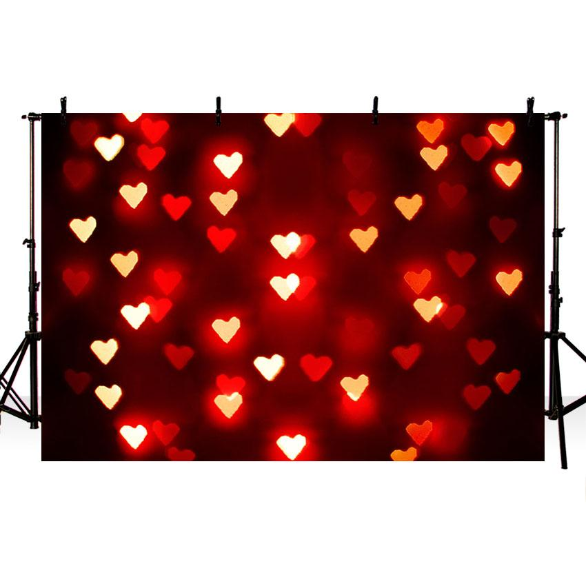 Valentine's Day Vinyl Photography Background Red Glitter Heart Couple Romantic Backdrop Photo Booth Studio