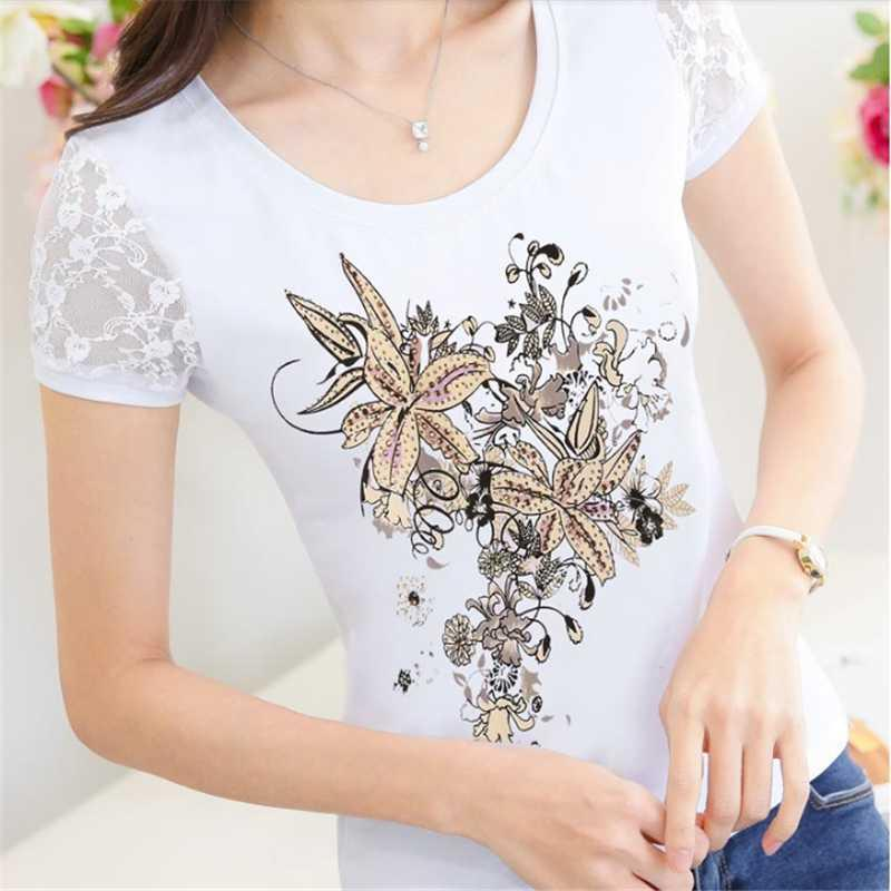 6603dafa36 Floral Diamond Camisetas Mujer 2019 Summer Tshirt Women Lace Lady T Shirt  Printing Womens T-shirts Woman Xxxl Top Vetement Femme Y19042101