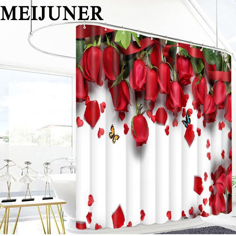 Acheter Meijuner 3D Salle De Bains Rouge Rose Fleur Tissu ...
