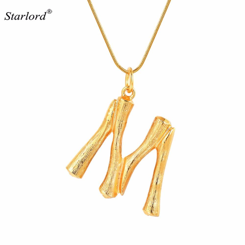 a5f365bab5a7 Wholesale Bamboo Initial Letter M Necklace Snake Chain Gold Alphabet Jewelry  Statement Personalized Gift Letter Charm For Women Men P9086 Silver Necklace  ...