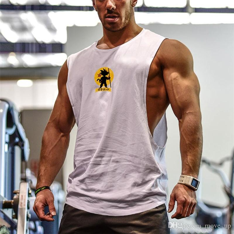47fae98ee38b6 2019 Bodybuilding Dragon Ball Tank Tops Men Anime Shirt Cute Goku Vest  Fitness Drop Armhole Solid Tops Tees Super Saiyan Singlets  105870 From  Move up