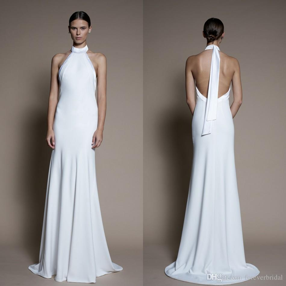 840350ffbd4f Discount Simply White Halter A Line Wedding Dresses Satin Sleeveless Open  Back Bridal Gowns Formal Party Dress Bridal Wedding Dress Buy Wedding  Dresses From ...