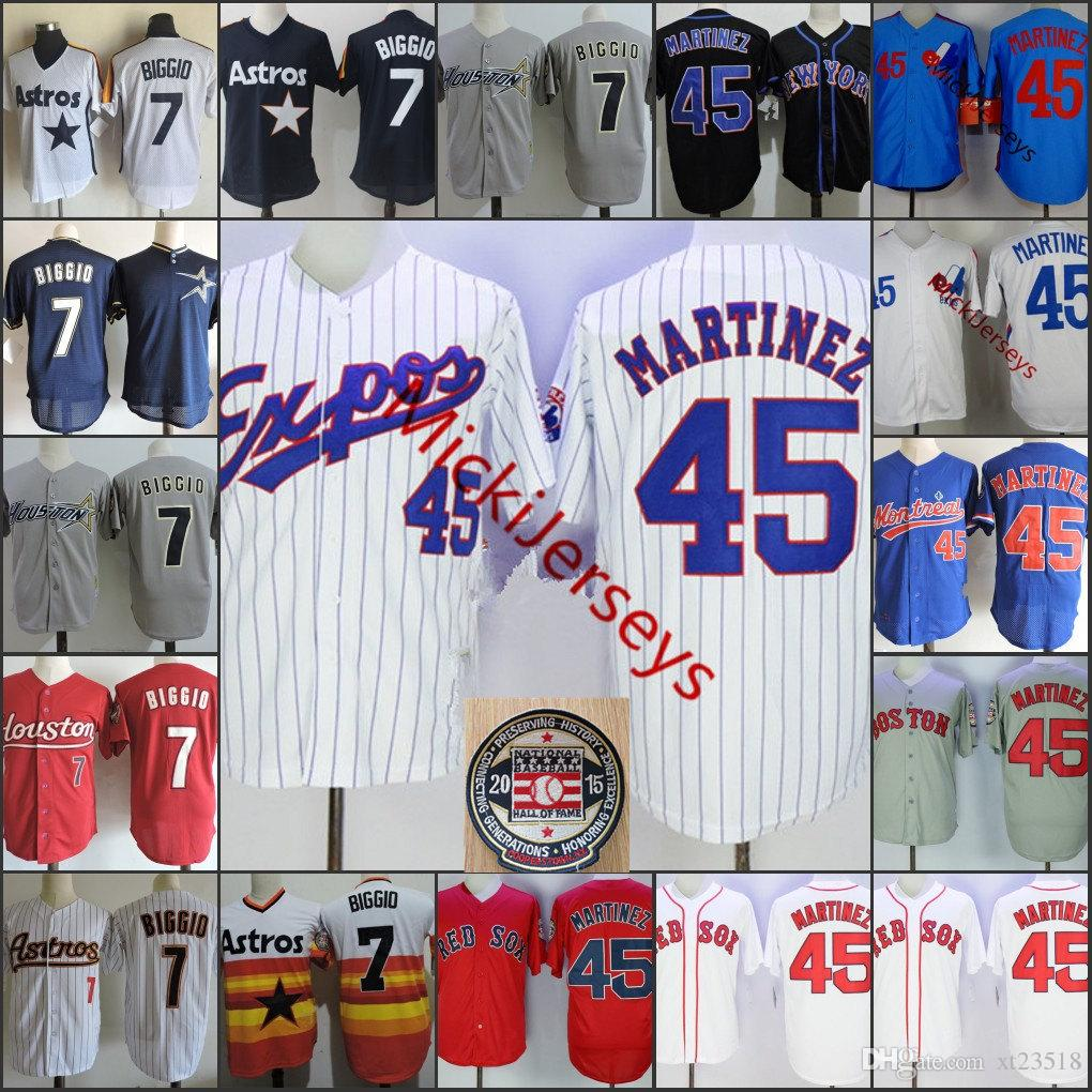 official photos a4fb2 582ff Mens #45 Pedro Martinez Montreal Expos Jersey Stitched White Red Grey Navy  #7 Craig Biggio 2015 HOF patch Jersey S-3XL