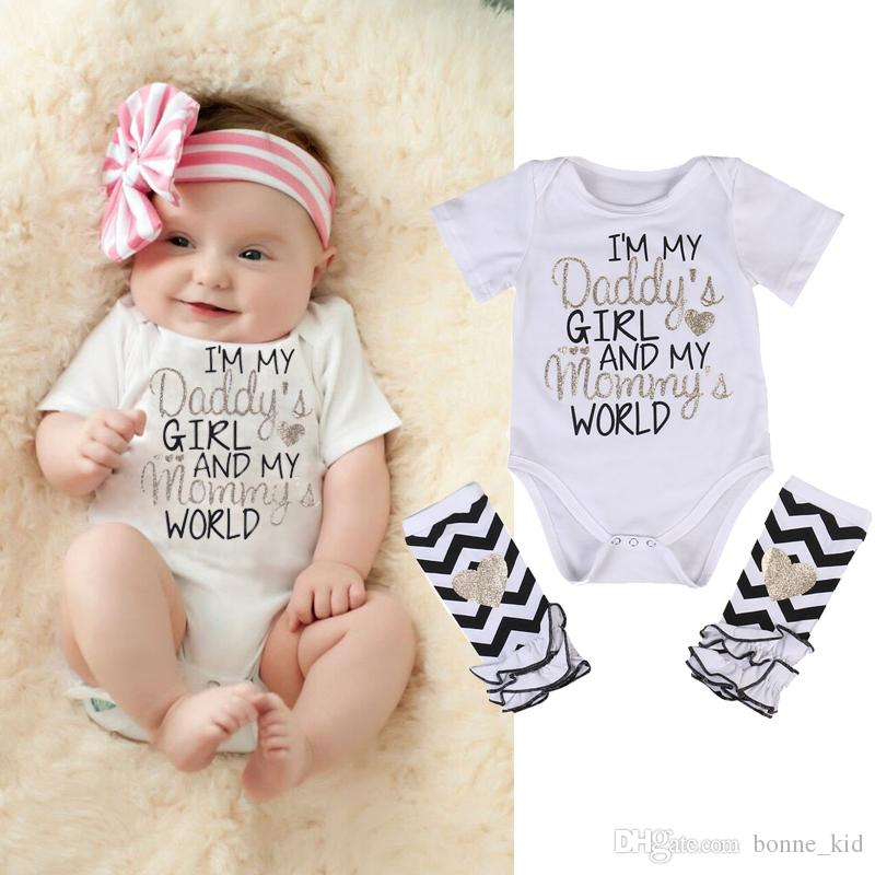c7c70937525 2019 Baby Girls White Rompers Stripes Leggings Letter Print Clothes Im My  Daddy S Girl And My Mommy S World Summer Baby Clothing Jumpsuits 0 24M From  ...