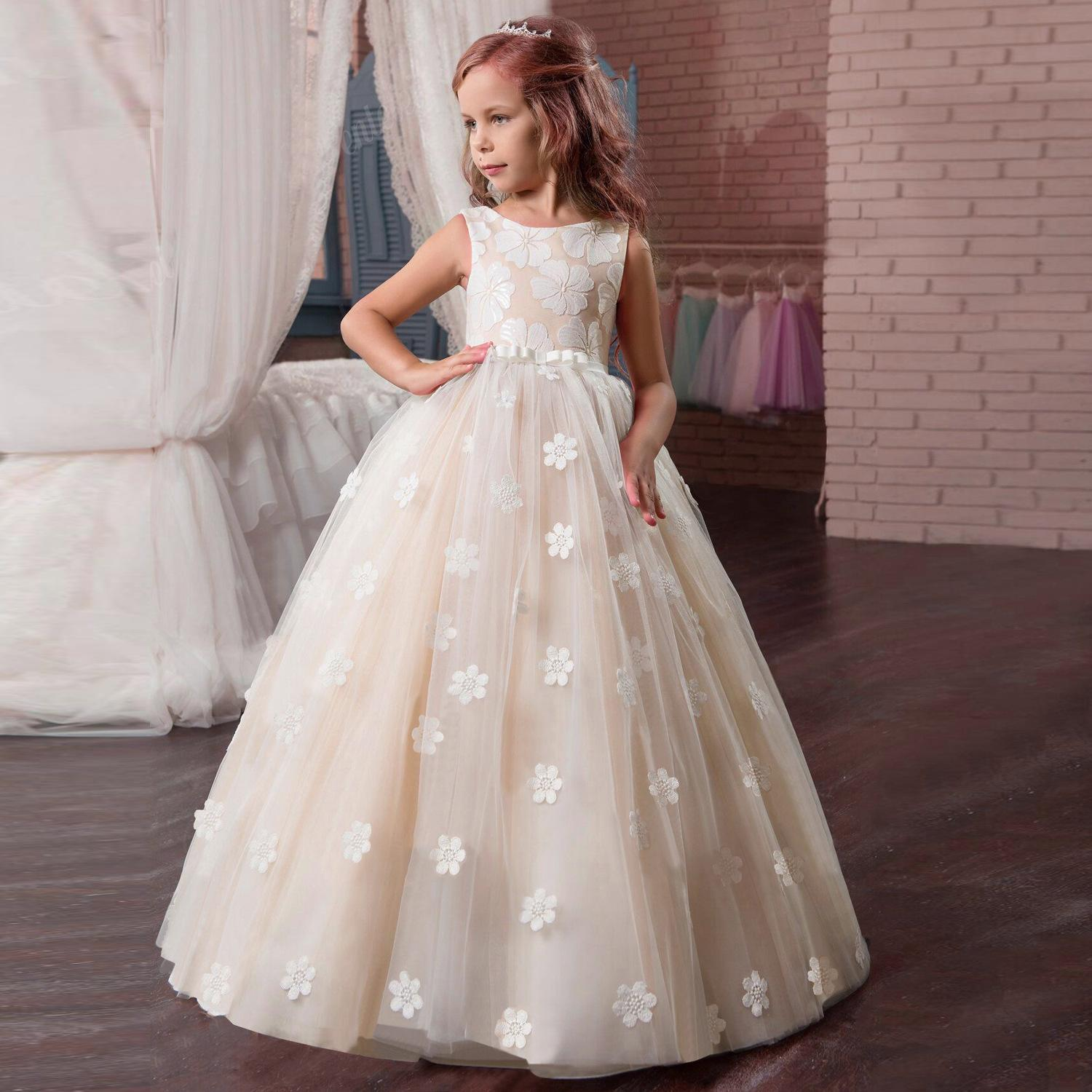 b52e8f747a497 Custom Made Flower Girl Dresses for Wedding Blush Pink Princess Tutu  Sequined Appliqued Lace Bow 2019 Vintage First holy Communion Dress
