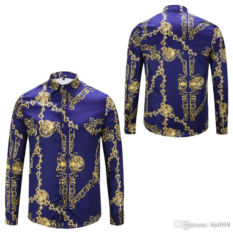 Brand New Dress Shirts Men's Fashion Luxury Stylish Harajuku Casual Designer Retro Floral Animal Print Silk Shirt Medusa Shirts For Men