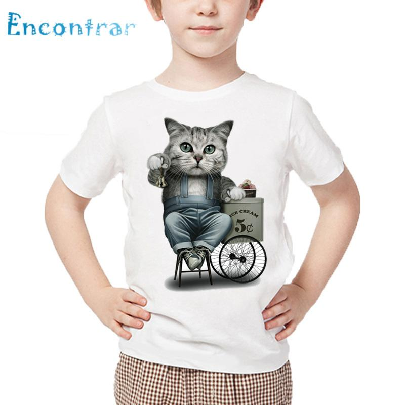 Kids Cute Real Cat Printed Funny T shirt Baby Summer Short Sleeve Tops Boys and Girls Casual White T-shirt,HKP5550