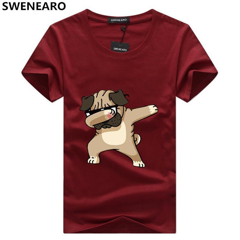 Impreso Verano De Dibujos Alta Hipster Hombre Calidad Marca Hombres Camisetas Animados Perros Animal Camiseta Swenearo XuZiOPTk