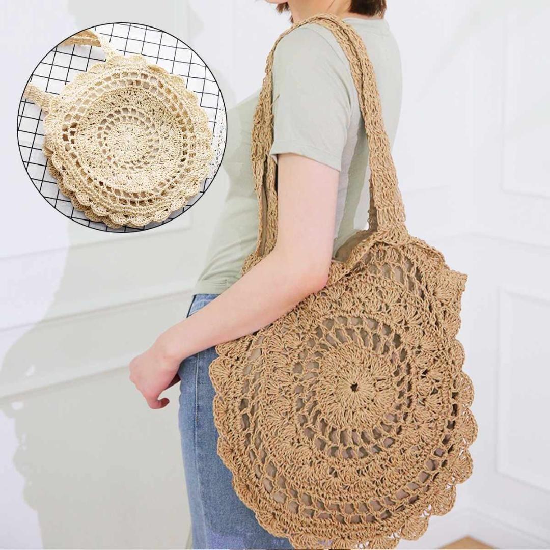 2019 Crochet Handbag Shoulder Bag Straw Bag Round Handmade Woven
