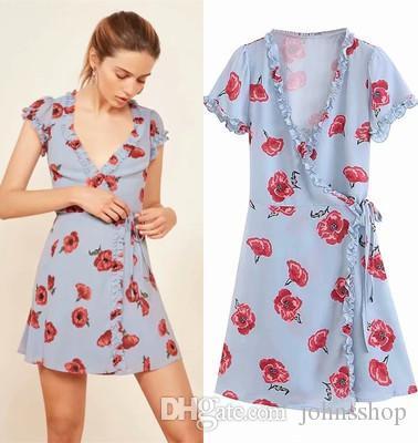 a7e7ec7db7c1c Free Shipping Hot Elegant Womens Flower Print Dress Summer Boho Style  Floral Print Chiffon Beach Dress Tunic Sundress Loose