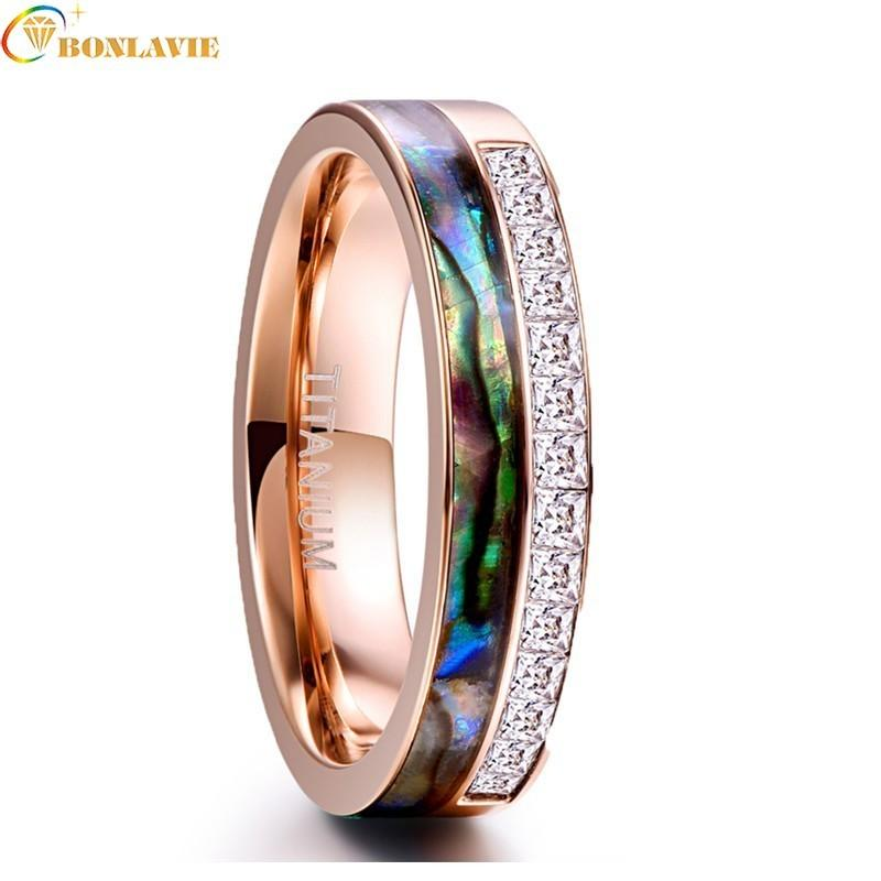 61a926868 Vintage Wedding Bands Rings For Men Women 6mm Rose Gold Shells White Square  Zircon Stainless Steel Ring For Men Lover's Jewelry