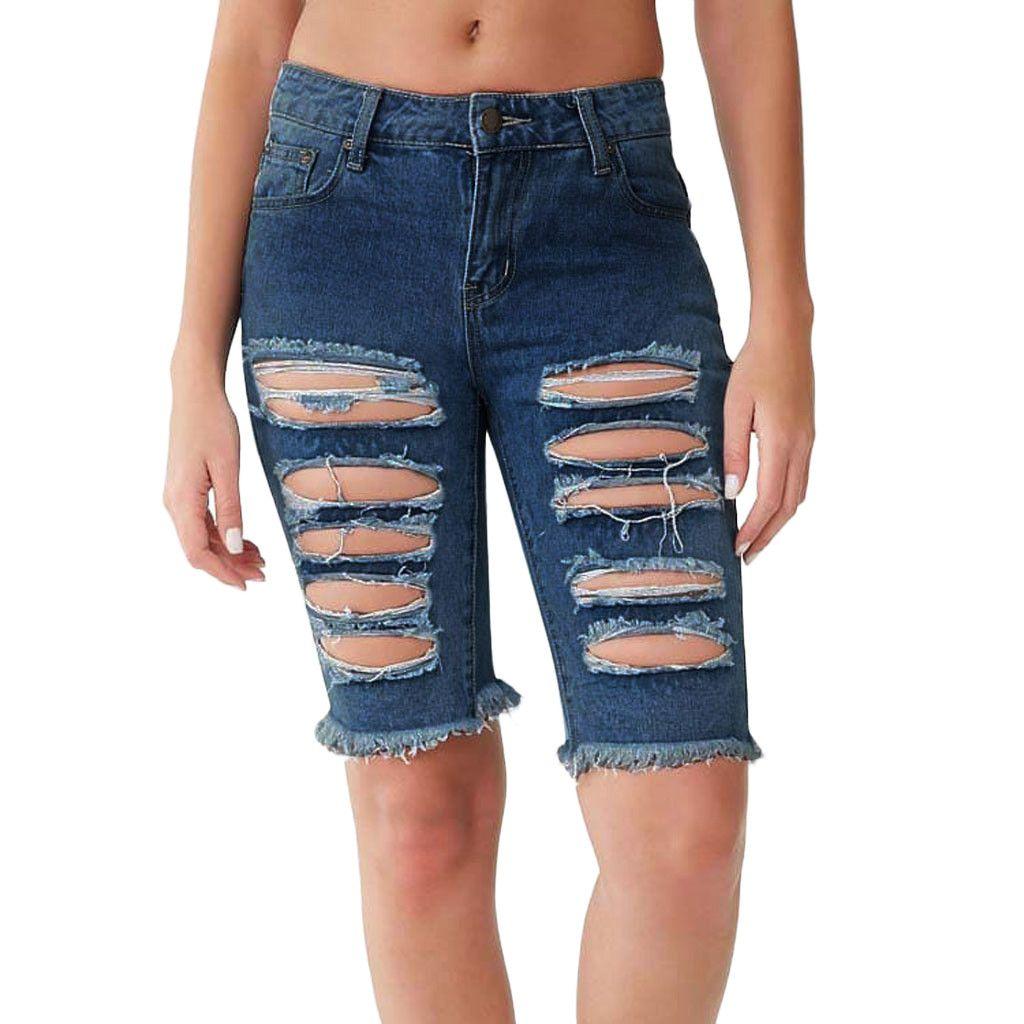 456aec638 MUQGEW Jeans Mujer Agujero corto Pantalones cortos Sexy Sexy Pantalones  Vaqueros de Cintura Alta Agujero Botón Bolsillo Delgado Borla Pantalones ...