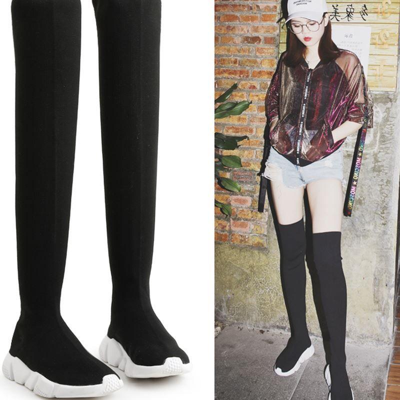 928da2daf976d Women Flats Booties Stretch Knitting Thigh High Boots Over Knee Fashion  Shoes F13 Office Shoes High Heels From Beigekar