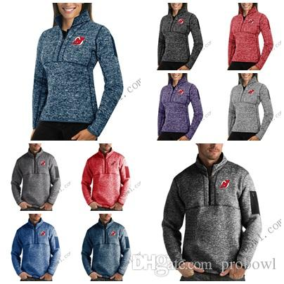 best website 5e616 fbea4 New Jersey Devils Antigua Mens Womens Fortune Half-Zip Sweater Pullover  Jackets- Heather Navy Charcoal Purple Grey Royal