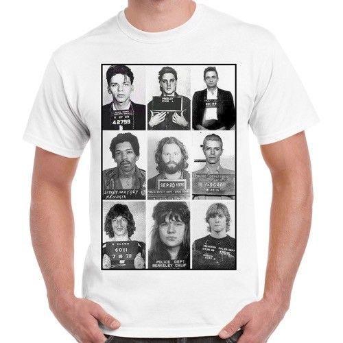 b130b907fbe05 Celebrities Mugshot Rock Stars Retro T Shirt 73 Short Sleeve Plus ...