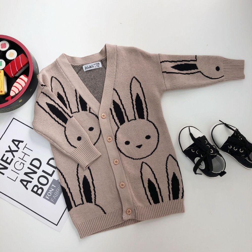 2f02b960ea26 2018 Autumn Baby Girls Cardigans Rabbit Pattern Kids Boys Knitted ...