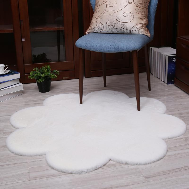 Flower Shape Rug Carpets For Living Room Decor Faux Fur Carpet Kids ...