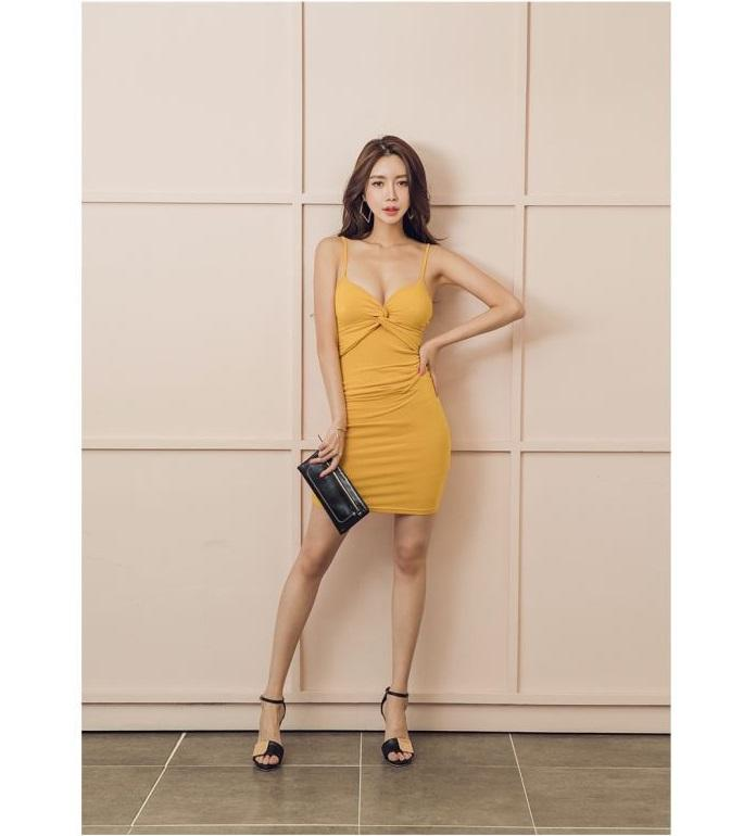 68ffd5ca13e Yellow Summer 2019 Korean Sexy Night Club Women Wear Low Chest Backless  Sling Evening Party Dress Short Skirt QC0207 Cocktail Dresses Teenagers  Floral ...