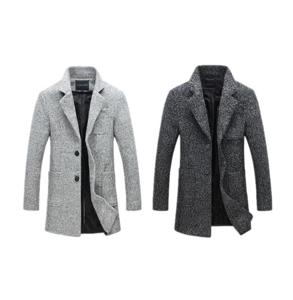 024b5aa3976 2019 New Fashion Long Trench Coat Men Winter Mens Overcoat 40% Wool ...