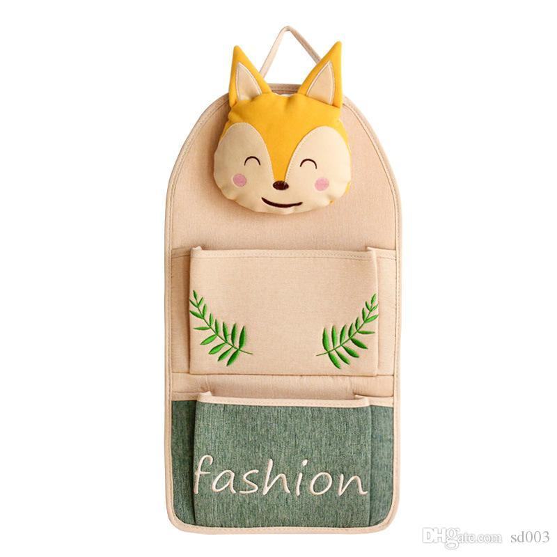 Fox Cat Pattern Hanging Bag dietro porta Cellulare Double Pocket Cartoon Wrap Cotone e lino Lovely 20hd C1