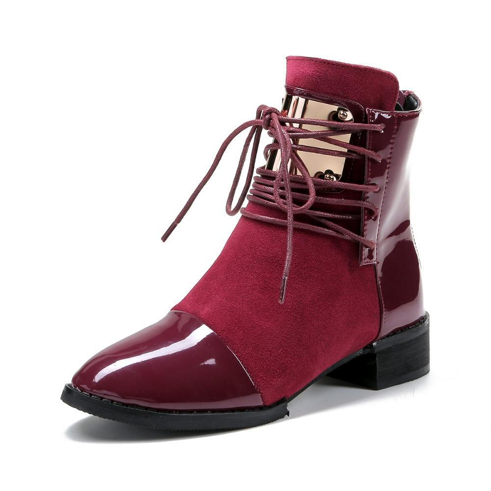 d5233e275 Boots Genuine Leather Flat Martin Ankle Boots Womens Motorcycle Autumn Shoes  Women Winter Patent Leather Botas Online with $48.75/Pair on Nlmora's Store  ...