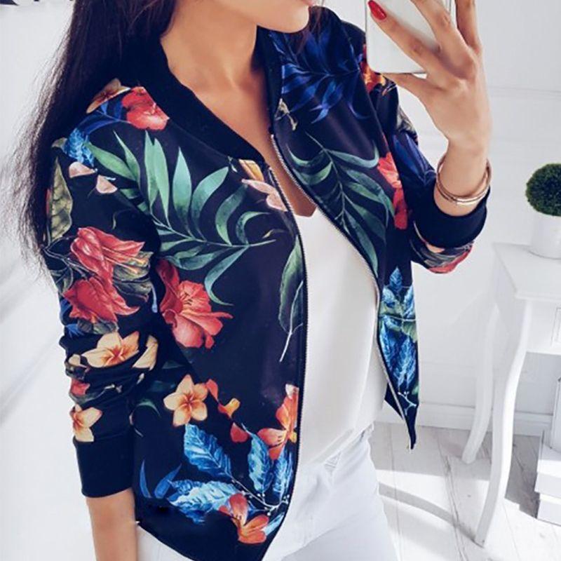 Boho Retro Floral Bomber Jacket Flowers Women/'s Coat Long Sleeve Fashion Outdoor