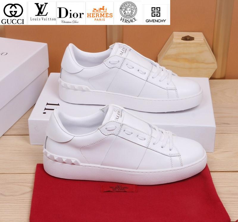 Vvtisks6 Classic Fashion Couple Models White Leather Sneakers Sneakers Dress Shoes Skate Dance Ballerina Flats Loafers Espadrilles Wedges