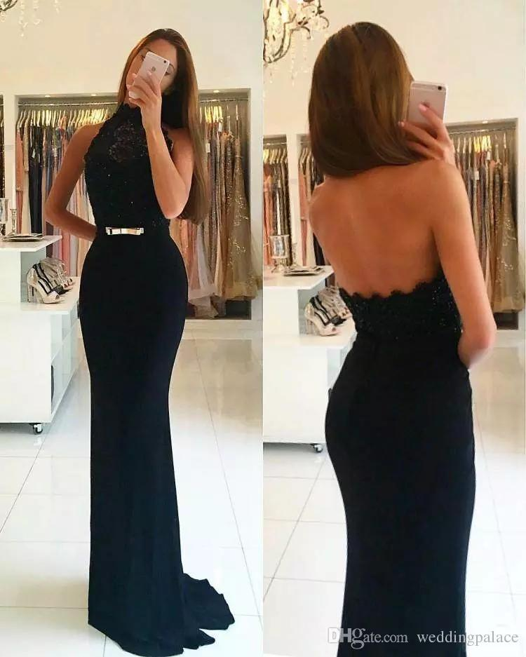 2018 In Stock Black Charming Prom Dresses High Neck Backless Sleeveless Slim Lace Pattern Party Evening Dresses Prom Gowns
