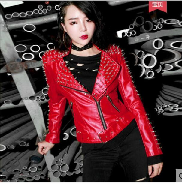 a871ece4c0d12 2019 New Autumn And Winter Short Motorcycle Jacket European And American  Leather Punk Rivet PU Leather Jackets Online with  185.63 Piece on ...