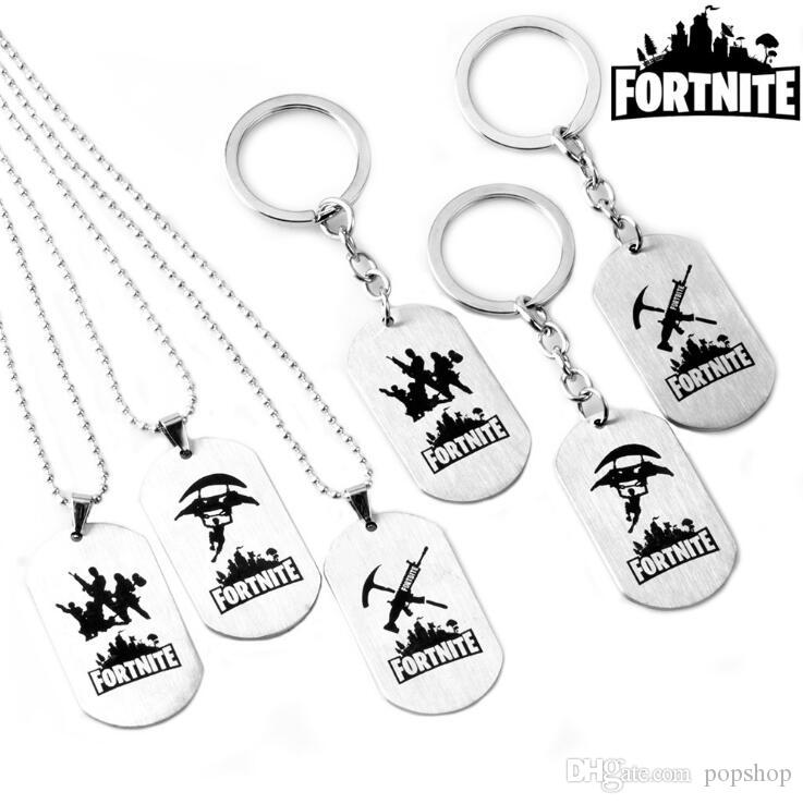 Necklace fortnight Necklace Fort fortress night Stainless Steel key Chain Pendant Necklace Men Tag Game battlegrounds