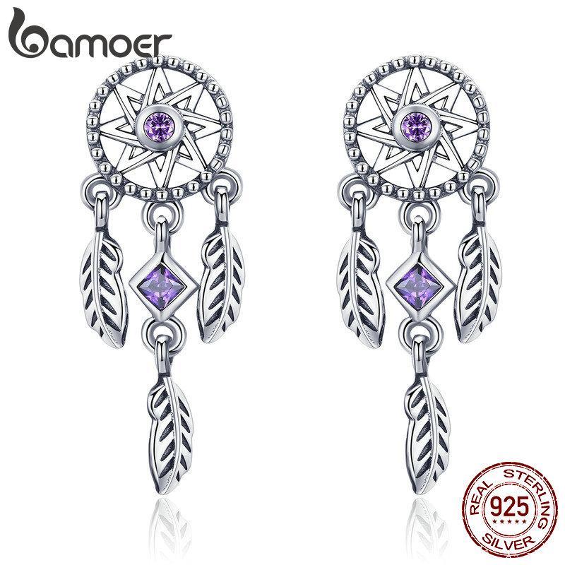 6d96952b5 2019 BAMOER 925 Sterling Silver Vintage Dream Catcher Drop Earrings For  Women Purple Cubic Zircon Sterling Silver Jewelry SCE502 From Melontwo, ...